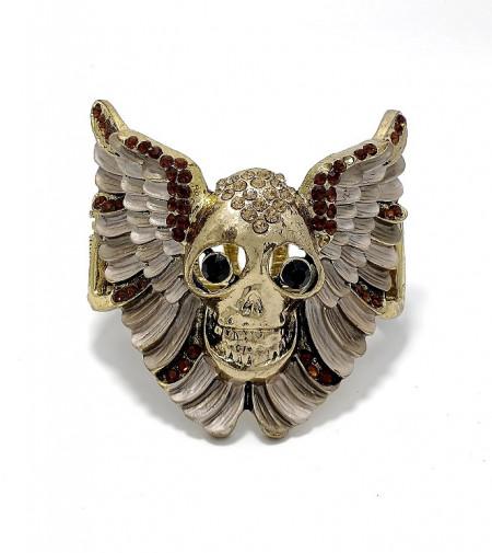 Bratara metalica craniu cu aripi