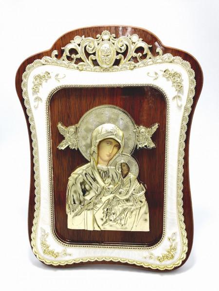 Icoana Maica Fecioara Ingerilor din lemn cu rama aurita