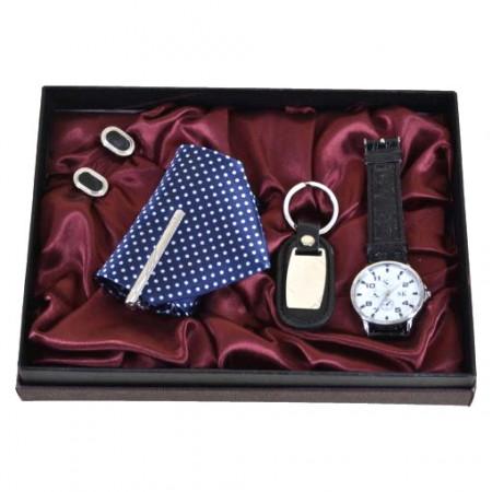 Set cadou cu 4 accesorii pentru barbati – Ceas/Cravata/Breloc/Butoni mansete