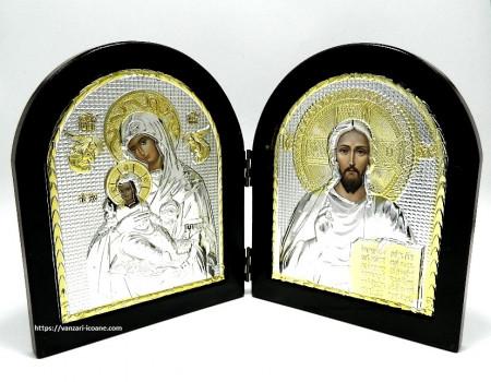 Icoane diptic din lemn Maica Domnului si Mantuitorul