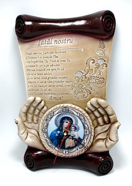 Placheta din ipsos cu ceas Tatal Nostru cu icoana