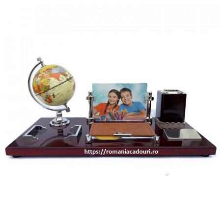 Set de birou din lemn cu rama foto