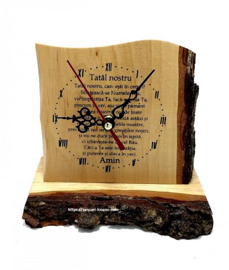 Ceas din lemn cu rugaciunea Tatal nostru