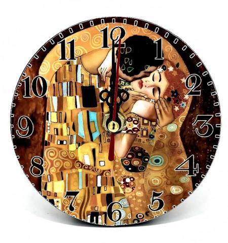 Ceas din lemn Sarutul de Gustav Klimt