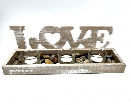 Suport lemn cu mesaj secret I LOVE YOU