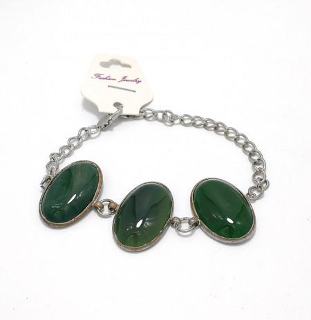 Bratari cu trei perle semipretioase  verzi