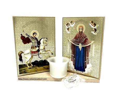 Candela cu icoane sfintite Maica Domnului si Sf.Gheorghe