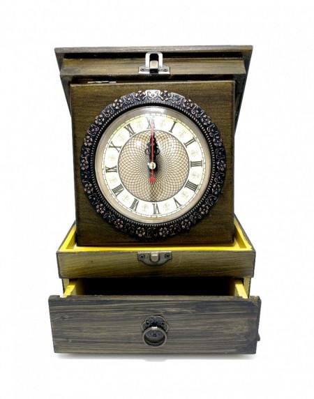 Ceas de masa cu sertar Vintage din lemn si metal