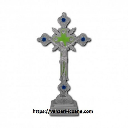 Cruce mare din plastic argintiu cu led