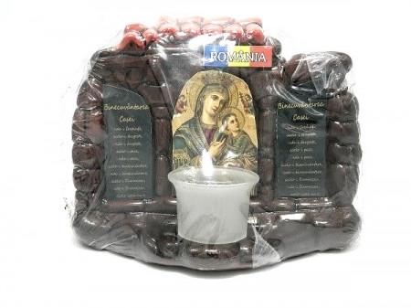 Candela ceramica cu icoana Maicii Domnului si Binecuvantarea casei