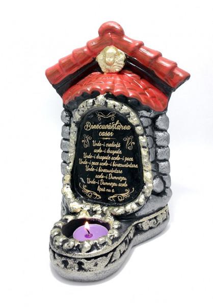 Candela troita din  ceramica cu binecuvantarea casei