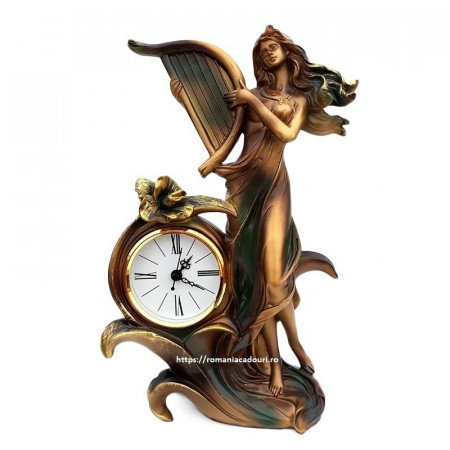 Statueta decor din rasina Fata cu harpa si ceas