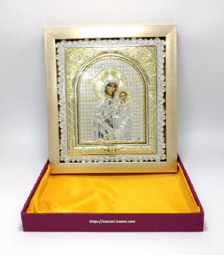 Icoana birou in rama Maica Domnului cu Pruncul in cutie