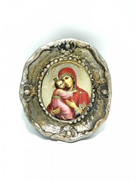 Icoana ceramica ovala Maica cu Pruncul Dulcea Sarutare