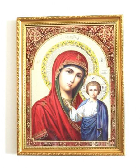 Icoana in rama Maica Domnului din Kazan