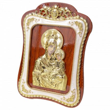 Icoana Maica Domnului din lemn cu rama aurita