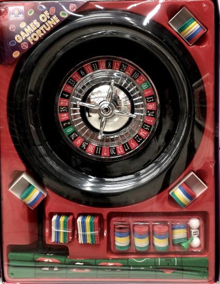 Ruleta joc de casino cu jetoane, zaruri si suport material textil cu numere
