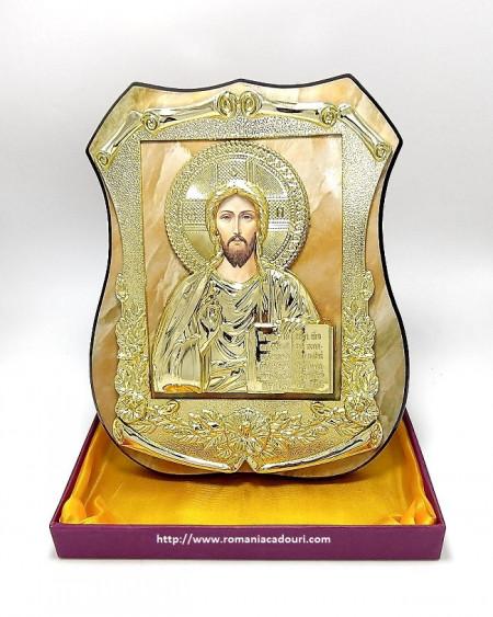 Icoana aurie pe lemn Iisus Mantuitorul