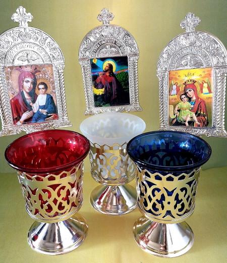 Candele din metal cu pahar si iconita pentru masa