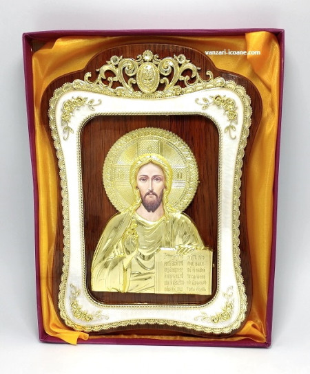 Icoana din lemn cu rama aurita Iisus