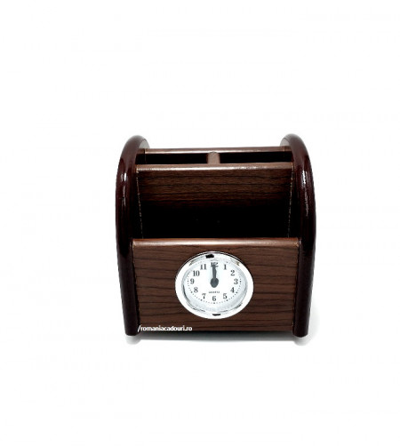Suport de birou cu ceas realizat din lemn