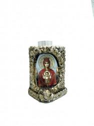 Candela ceramica cu icoana Maica Domnului