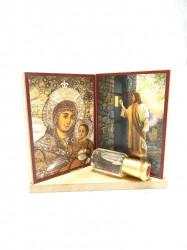 Set 2 iconite pe suport din lemn cu diverse cadouri