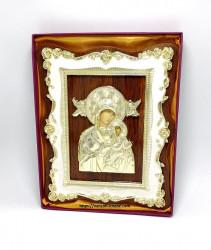 Icoana Fecioara cu Pruncul pe lemn cu rama florala aurita