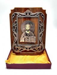 Icoana Iisus Binecuvantand pe lemn din bronz