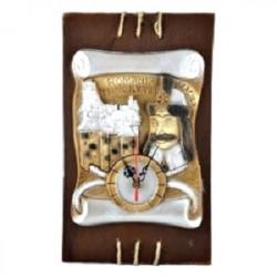 Placheta din ipsos cu ceas castelul Bran si chipul lui Vlad Tepes