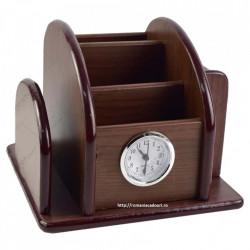 Suport elegant pentru birou realizat din lemn cu ceas