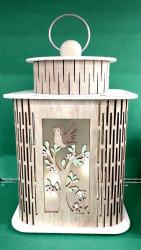 Felinar decorativ din lemn cu led-uri