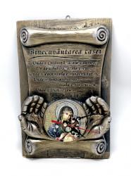 Placheta cu ceas perete din ispos Binecuvantarea casei