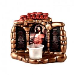 Candela ceramica cu icoana Iisus si Binecuvantarea casei
