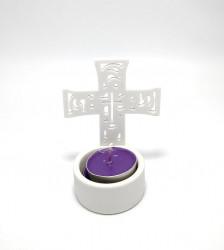 Candela tip cruce  ceramica alba