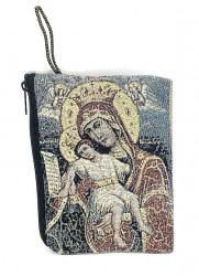 Portofel textil religios cu icoana si fermoar