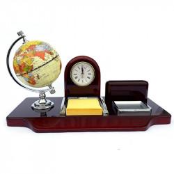 Set lemn birou cu ceas din lemn