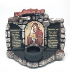 Candela ceramica cu Icoana Maicii Domnului si Pruncul