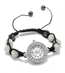 Ceasul tip Bratara Shamballa cu cristale albe