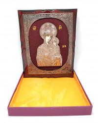 Icoana pe lemn in relief din bronz pe catifea rosie