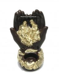 Candela ceramica in forma de maini cu icoana Sfanta Familie