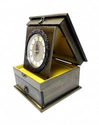 Ceas de masa cu sertar model Vintage din lemn si metal