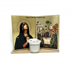 Set icoane sfintite Maica Domnului pe suport si candela