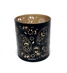Suport lumanare metalic auriu cu negru