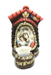 Candela ceramica mare cu icoana Maicii Domnului