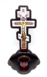 Candela cruce din lemn masiv cu pahar