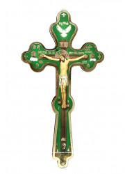 Cruce Ortodoxa din lemn subtire cu rastignirea Domnului