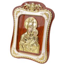 Icoana Maica Domnului din lemn cu rama aurita ovala