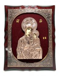 Icoana pe lemn din bronz pe catifea rosie