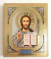 Icoana in relief aurie Iisus Hristos binecuvantand